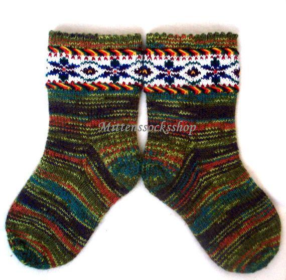 Hand knitted wool socks Patterned socks Warm by mittenssocksshop