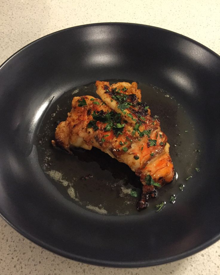 Lobster tail with burnt sage butter