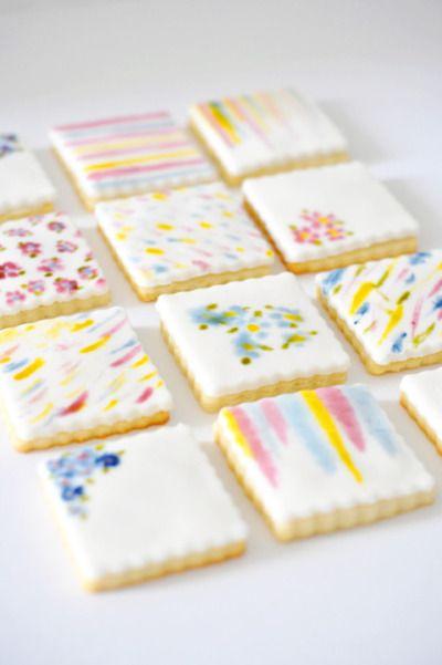 A pretty treat: http://www.stylemepretty.com/living/2015/04/29/diy-watercolor-cookies/ | Recipe: Lark & Linen - http://www.jacquelynclark.com/