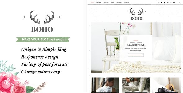 Bohopeople Personal WordPress Blog Theme  BohoPeople is a Simple & Unique Personal Blog WordPress Theme, easy to customize & have a lot of variations.