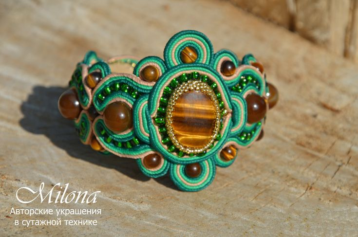 "Soutache bracelet ""Spring Forest"" by MilonaSoutache on Etsy"