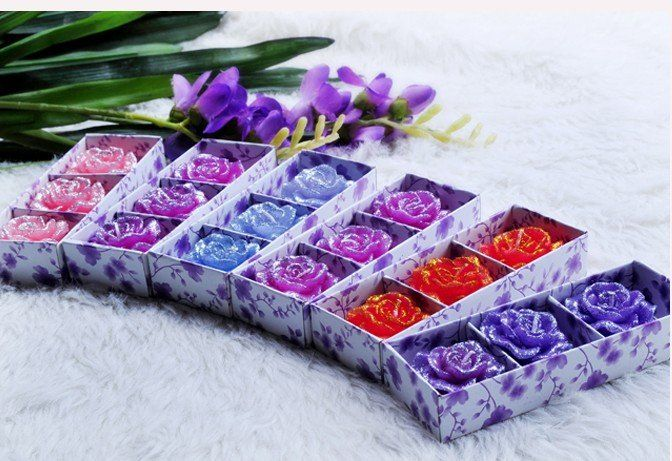 Free shipping New Arrival Fashion Aroma Rose Flower Candles Wedding candles Birthday candles Party 30pcs/lot