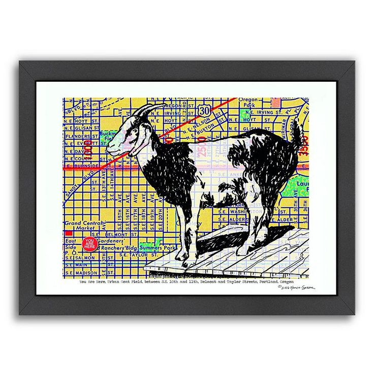Americanflat Urban Goat Portland Framed Wall Art, Multicolor