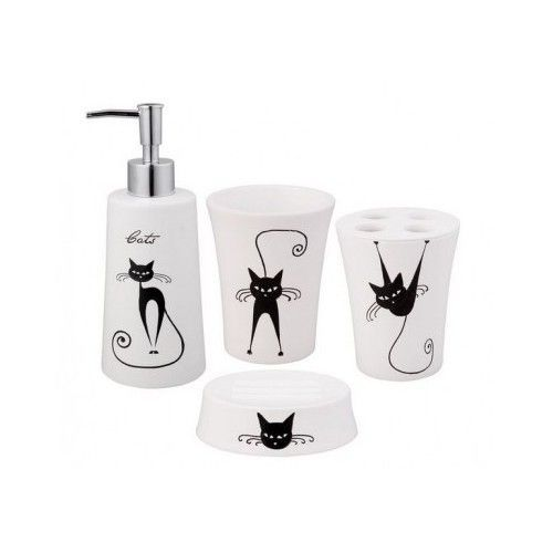 Bathroom Accessory Sets Cats Design Mid-Century Modern New 4 Piece Bath Retro  #JoviHome