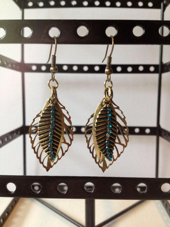 Brass And Blue Crystal Rhinestone Brass Leaf Dangle Earrings