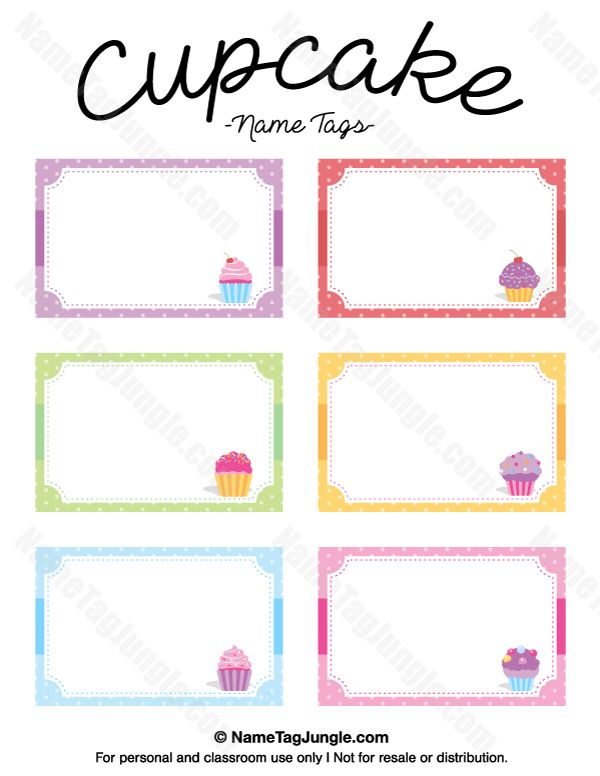 Free printable cupcake name tags. The template can also be used for creating items like labels and place cards. Download the PDF at http://nametagjungle.com/name-tag/cupcake/