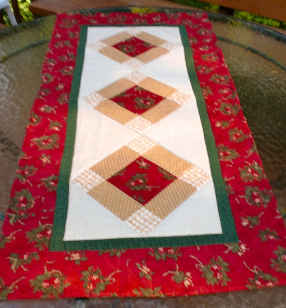 Linda's Simple Trio Table Runner  20 x 42 by StacksOfStash on Etsy, $20.00