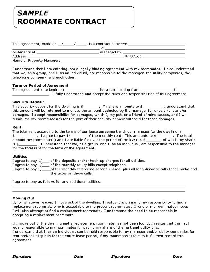 Printable sample roommate agreement form real estate for Roommate agreement template free