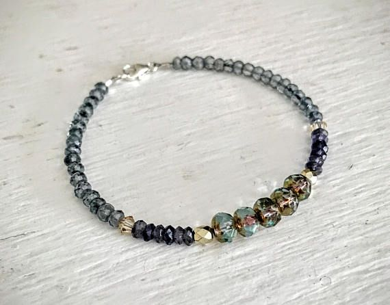 Beaded Bracelet, Gemstone Bracelets for Women, Womens Bracelet, Mothers Day Gift, Iolite Bracelet, Czech Glass Beaded Bracelet, Boho Jewelry The aqua/bronze picasso Czech glass beads in this bracelet are dazzling, surrounded by iolite faceted rondelles in shades of blue. The bracelet