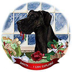 Great Dane Christmas Ornament, 'Santa.. I Can Explain!' Black Great Dane