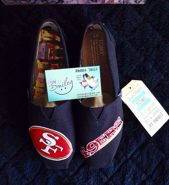 San Francisco 49er hand painted White New School Font Toms/Converse/Vans on Etsy, $140.00