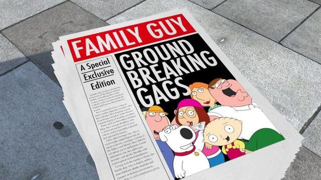 Family Guy : Greatest Gags. Another in the BBC3 series of documentaries about their continuing series.