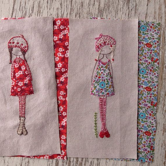 lavender girl embroidery pattern by LiliPopo on Etsy