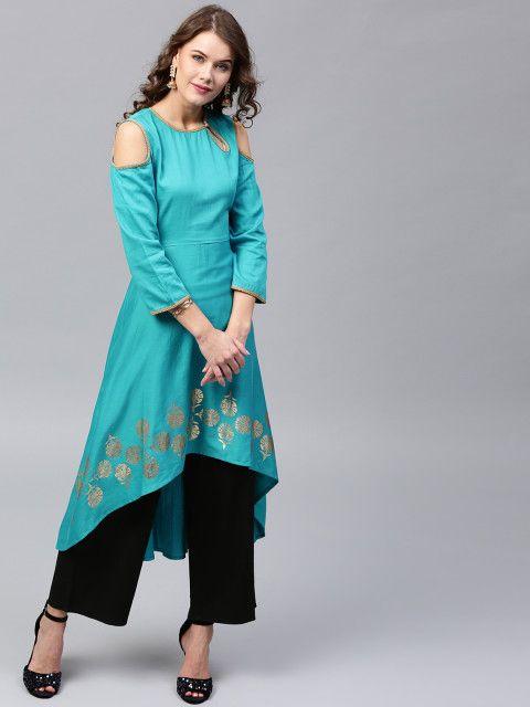 11d9a2d9b3 Buy SASSAFRAS Women Blue Solid Cold Shoulder High Low A Line Kurta - Kurtas  for Women 2305635