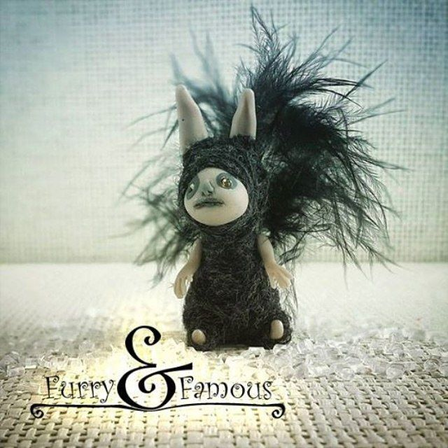#леснойдух #forest #spirit #squirrel #black #fur #wool #thread #arts #sculpture #miniature #doll #clay #polymerclay #dark #elf #furry_and_famous