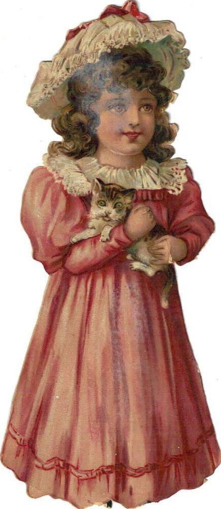 Larger Victorian Die Cut Scrap Little Girl in Pink w Kitten c1880