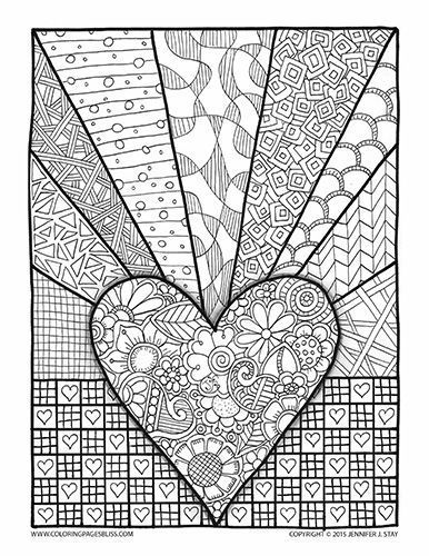 Coloring Page Valentines Day Abstract Doodle Zentangle Paisley Coloring pages colouring adult detailed advanced printable Kleuren voor volwassenen coloriage pour adulte anti-stress kleurplaat voor volwassenen Line Art Black and White