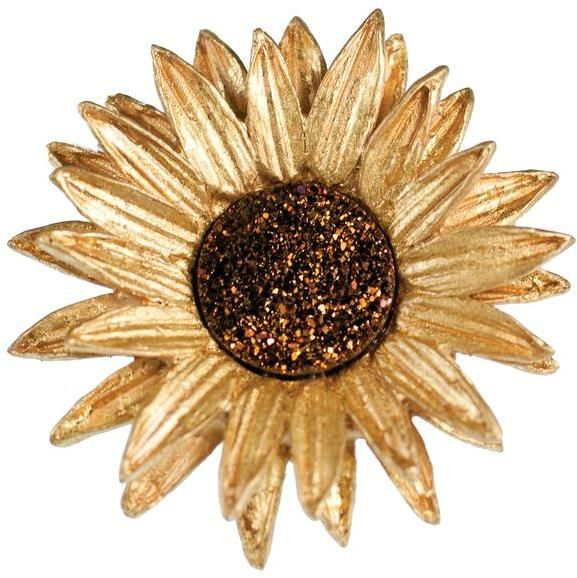 """This Large stunning Pin by Michael Michaud is cast in Bronze in a mold made directly from a real Sunflower in order to perfectly capture the flowers form and texture. Hand Patinaed Bronze and layered in 24k Gold Plate. In the center of the flower are real Brown Druzy Stones which have a Purple Coppery Brown sparkle to them that make up the large bud. Measures: 2.25"""" across. Michael Michaud for Silver Seasons Hand-Cast Bronze Sunflower Brooch"""