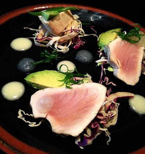 Pacific Albacore Tuna: white soy aioli, puffed black rice, yuzu gel, avocado and cabbage | Oceanwise | New Menu Item | Menu Launch | Pier 73 | YVR