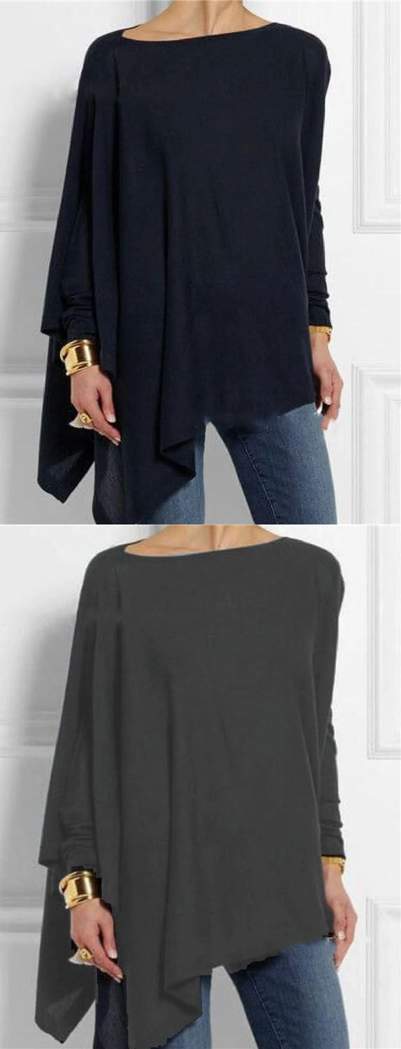 Hot Sale!Solid Long Sleeve Crew Neck Casual Irregular Blouses Tops