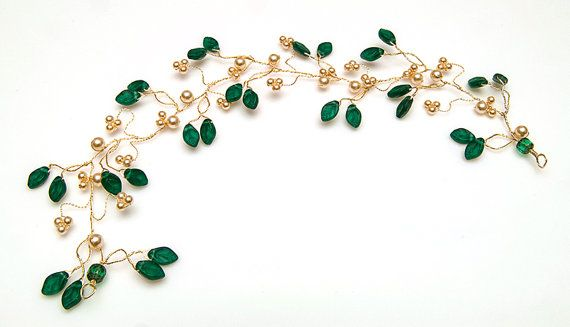 Emerald Green Hair Vine Teal Hair Vine by CherylParrottJewelry