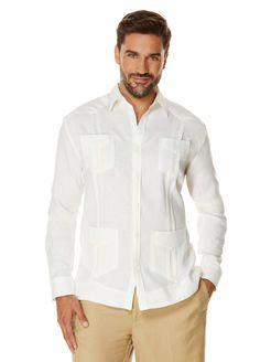 100% Linen Long Sleeve Classic Guayabera, Bright White