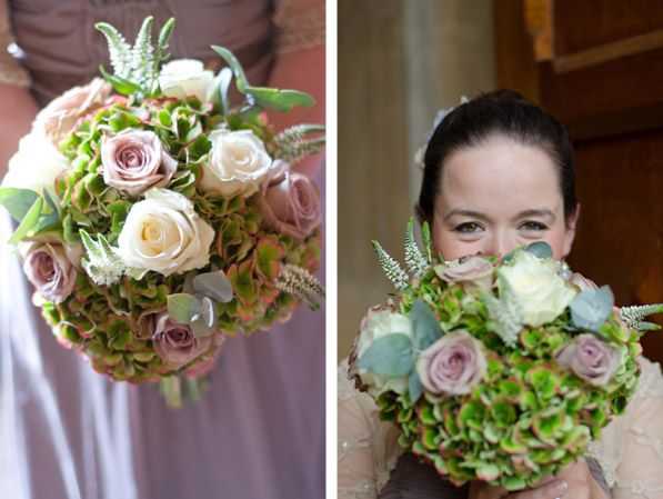 Beautiful bouquet filled with green hydrangea, Amnesia Rose, Avalanche Rose and a highlight of veronica. #Wedding #Flowers