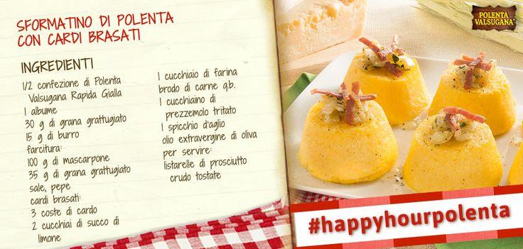 Ha un cuore morbido di #mascarpone, che si accompagna perfettamente con il gusto dei #cardi brasati. Provalo come aperitivo #happyhourpolenta! http://www.polentavalsugana.it/ricette/sformatino-di-polenta-valsugana-con-cardi-brasati/