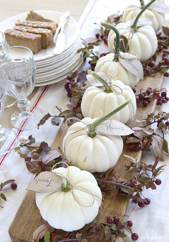 Fall table decor ideas. Ceramic Harvest Table Decor Set of Four Pumpkins
