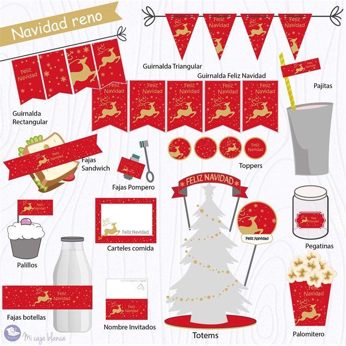 Imprimibles Navidad Reno rojo  #imprimible #imprimibles #decoracion