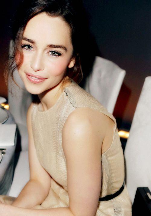 Emilia Clarke. I love her fresh/natural makeup!! And sleek yet messy hair look!