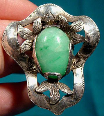 Arts and Crafts Sterling Silver Dress Clip with Jadite Stone