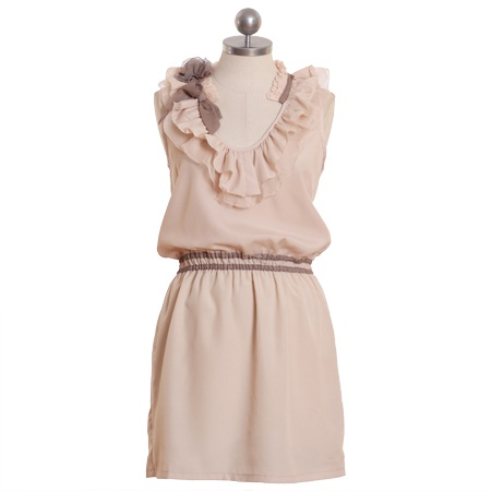 """presenting emma"" ruffle dress #ruche i love the neckline"