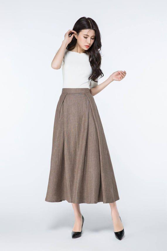 brown skirt long linen skirts maxi linen skirts full skirt