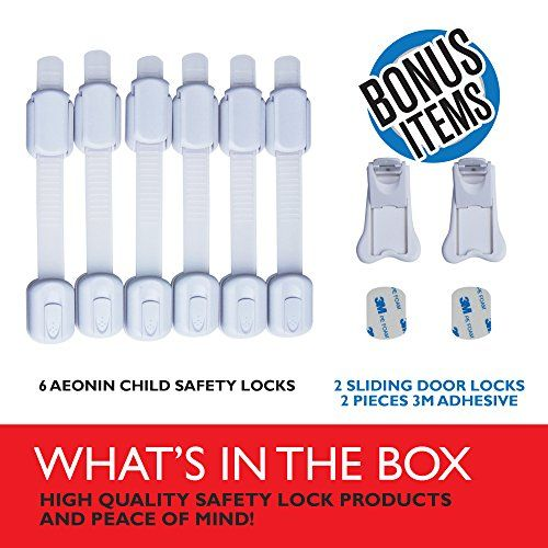 Aeonin- Adjustable Child Safety Locks For Baby Proofing Cabinets - Drawers Toilet Seat , No Drilling Safety Latches For Oven Refrigerator Ideal for Child Proofing 6 Pack Bonus 2 Sliding Door Locks