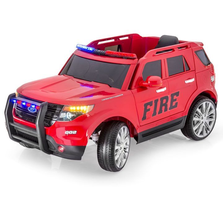 ford style explorer fire truck one seater kids ride on car mp3 player 12v battery