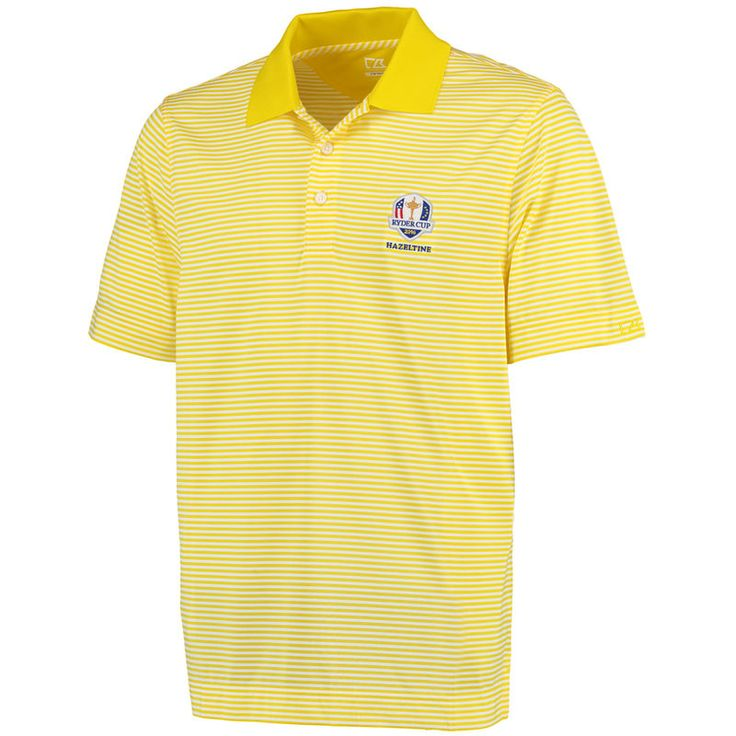 The 2016 Ryder Cup Cutter & Buck DryTec Trevor Stripe Polo - Yellow