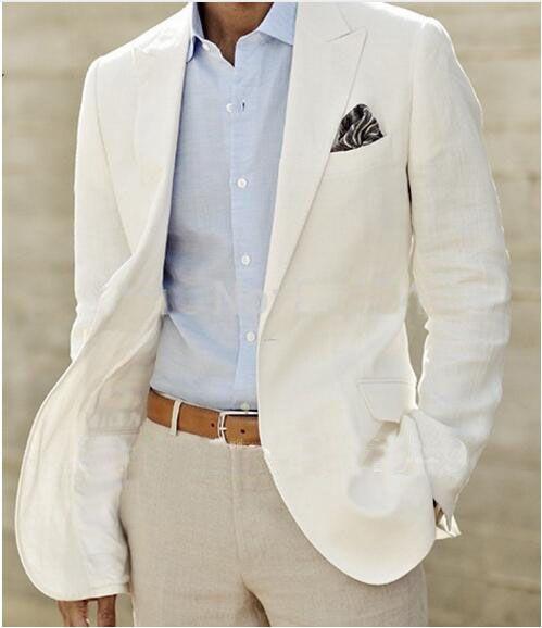 Ivoire Linge Costume Sur Mesure Pour Hommes Blanc Linge Blazer Et pantalon Mens Costumes De Lin Pour Smokings De Mariage Pour Hommes, Sur Mesure Marié costume dans Costumes de Hommes de Vêtements et Accessoires sur AliExpress.com | Alibaba Group