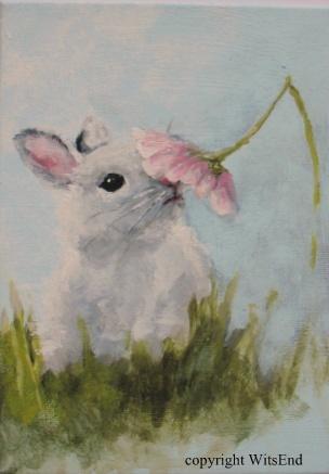 """Daisy Bunny"", original on canvas panel.  SOLD"