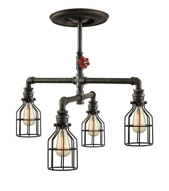 Steampunk industriële plafondlamp  industriële door WestNinthVintage