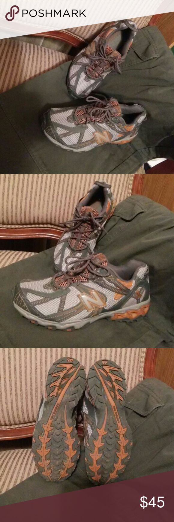 *CCO* Fit w's 9 572 all terrain New Balance 😀 Tough looking and functional. EUC Will fit women's size 9. Silver, two-tone gray and orange. You will love the look of these shoes. No tread missing at all. New Balance Shoes Athletic Shoes