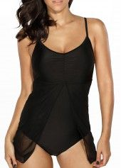 V Neck Solid Black Plus Size Swimwear | modlily.com - USD $22.18