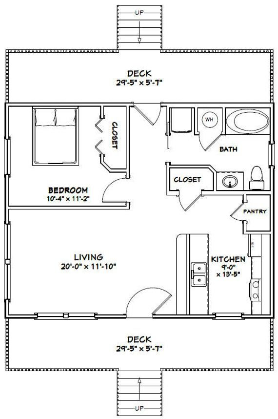 30x24 House 1 Bedroom 1 Bath 720 Sq Ft Pdf Floor Plan Etsy In 2020 Pool House Plans One Bedroom House Plans Bathroom Floor Plans
