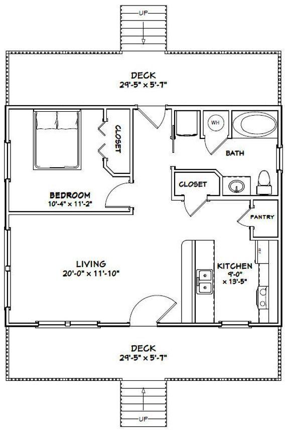 30x24 House 1 Bedroom 1 Bath 720 Sq Ft Pdf Floor Plan