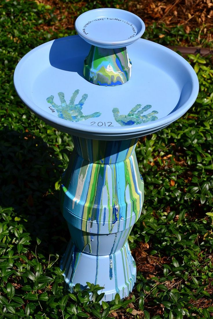 Unique bird baths diy bird bath ideas - Borowsky Great Idea For Mother S Day Diy Pour Painted Terra Cotta Pot Bird Bath In Blues Greens We Made It As A Birthday Gift For The Kids