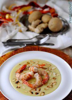 Gamberoni Lardellati su Crema di Patate allo Zenzero e Scaglie di Mandorle #calendargirls di PixeLiciouS #lardo