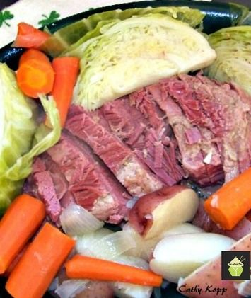 Corned Beef Dinner. Instructions: 1. In a large pan, cover Corned Beef brisket with water and add spice packet.  Bring to a boil and then simmer for 2 1/2 to 3 hours until the internal temp reaches 160F. 2. With 15 minutes remaining, add to the pot 1 small onion, 6 medium carrots, and three potatoes (cut in halves). Cover and simmer 15 minutes.  3. Remove meat only to warm platter and cover.  4. Add 1 cabbage (cut into quarters) to the other vegetables in pot and simmer uncovered for 15…