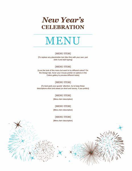 New year party menu template – Dinner Menu Template Free