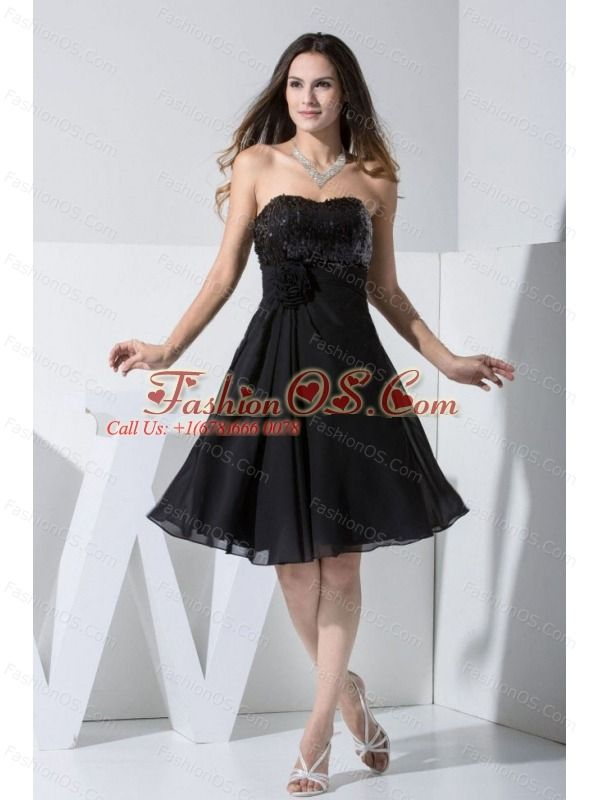 Sequin and Hand Made Flower Decorate Bodice Chiffon Black Knee-length Prom Dress- $115.69  http://www.fashionos.com  | zipper up back prom dress | prom dress websites | sleeveless prom dress | 2013 junior prom pageant dress | cheap plus size 2013 prom homecoming gowns | 2013 sexy custom made prom cocktail dresses for sale | 2013 2014 prom cocktail dresses | 2013 discount prom cocktail dress | elegant 2013 2014 new prom cocktail dress |
