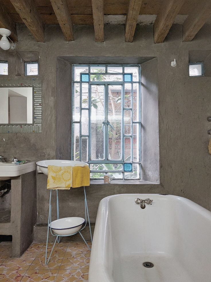 Mexico City AirBnB | Yellow Bathroom, historic traditional | Post: This is Mexico City's Most Charming House | The Good Hacienda | by Hilary